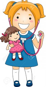 19253782-Illustration-of-a-Little-Girl-playing-Doctor-with-a-Stethoscope-with-a-Rad-Doll-patient-Stock-Illustration